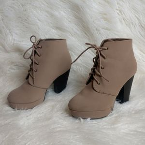 Heeled Beige Lace Up Booties